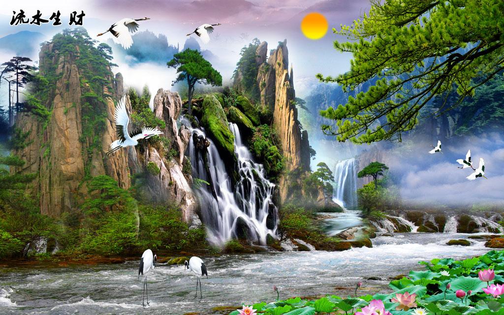 a050121-中式自然风景-松树-鹤-荷花-山水-流水生财