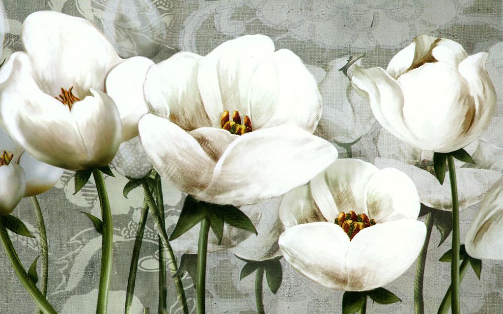 a051356简约花卉复古油画白色花手绘花罂粟花花纹