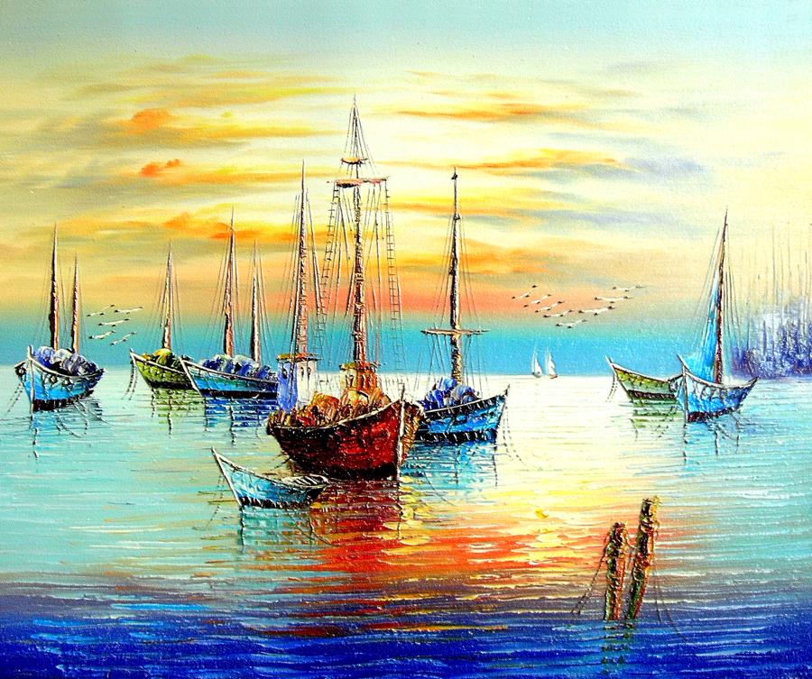 a012632--歐式油畫-油畫風景 大海 帆船