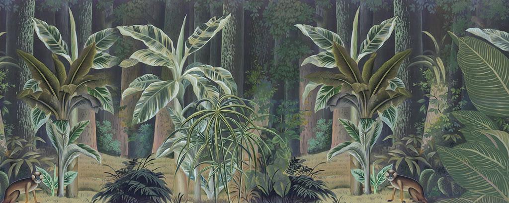 a052651欧式手绘中世纪热带雨林