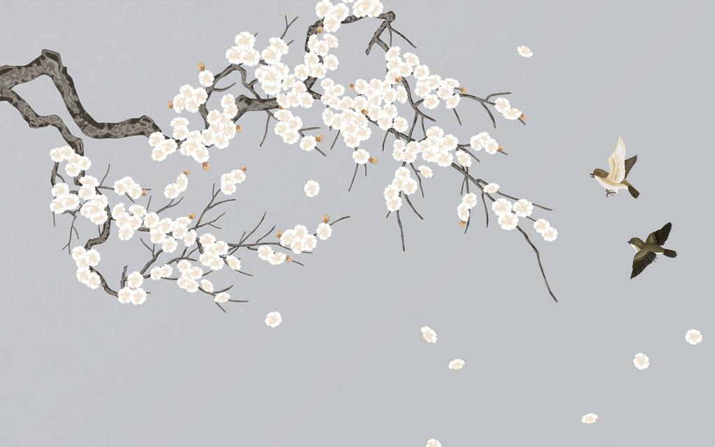a052575新中式手绘梅花花鸟